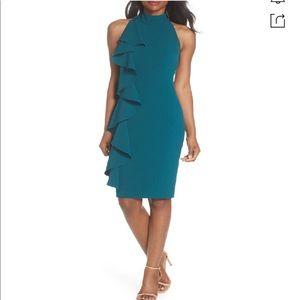ELIZA J Plus Size Ruffle Sheath Dress Teal Size 14